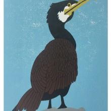 Cormorant : Linoprint : Jo Porter