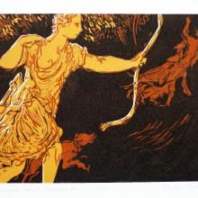 Diana and Actaeon : Linocut : Ruth Oaks