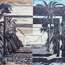 Distant Shores (Robert Louis Stevenson) : Woodcut : Ruth Oaks