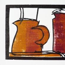 Two Jugs : Woodcut : Ruth Oaks